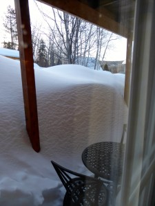 Snow piled up at our window